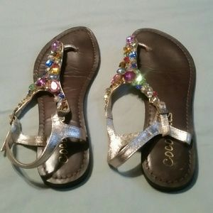 Coconuts gold and multi colored jeweled sandals
